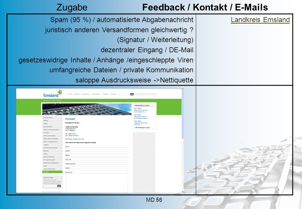 Zugabe Feedback / Kontakt / E-Mails