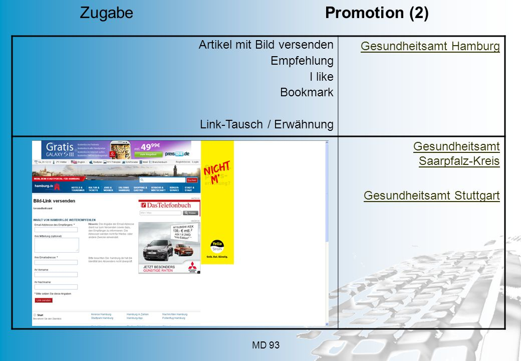 Zugabe Promotion (2) Artikel mit Bild versenden Empfehlung I like