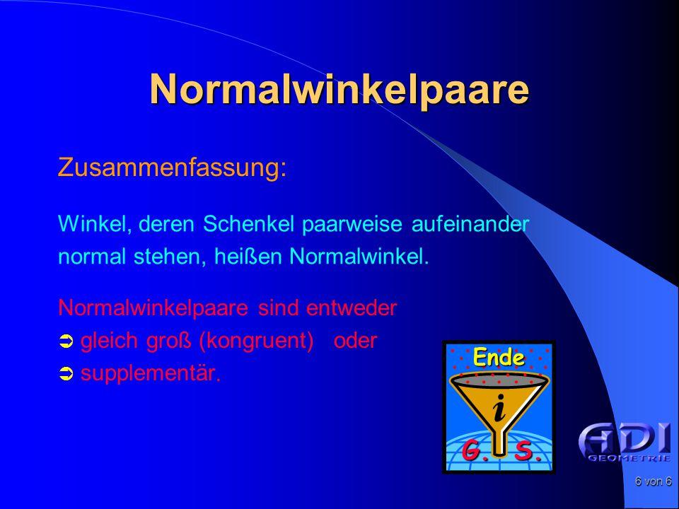 Normalwinkelpaare Zusammenfassung: G. S.