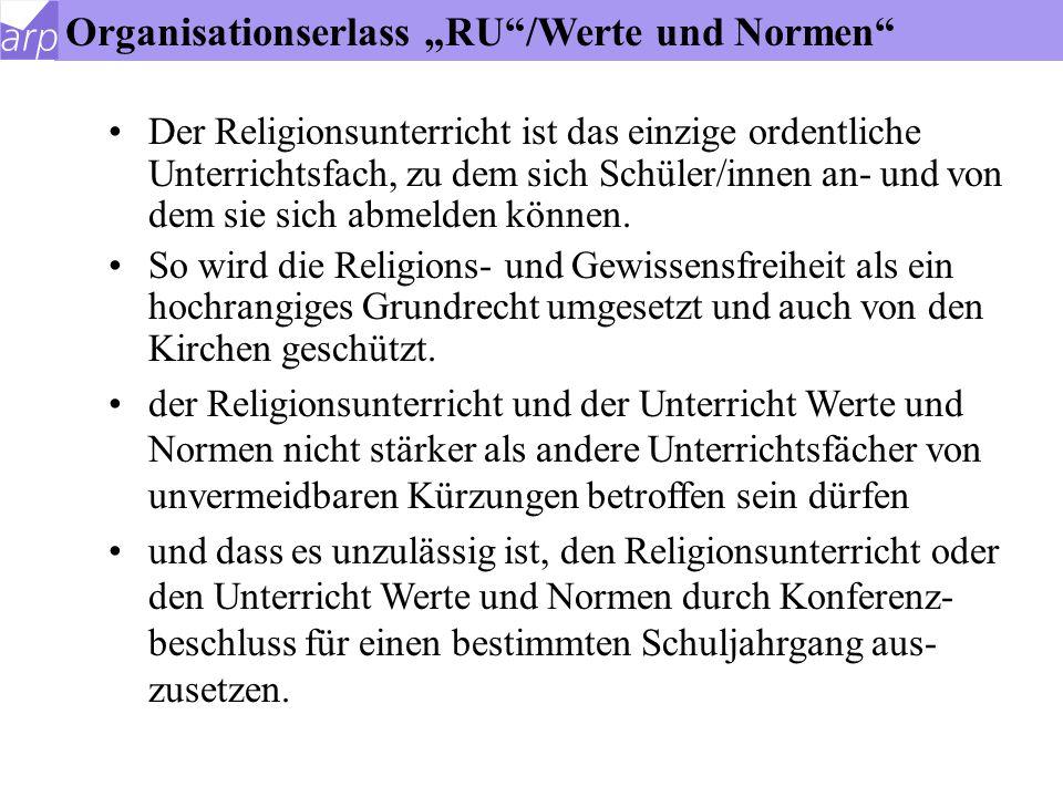 """Organisationserlass """"RU /Werte und Normen"""