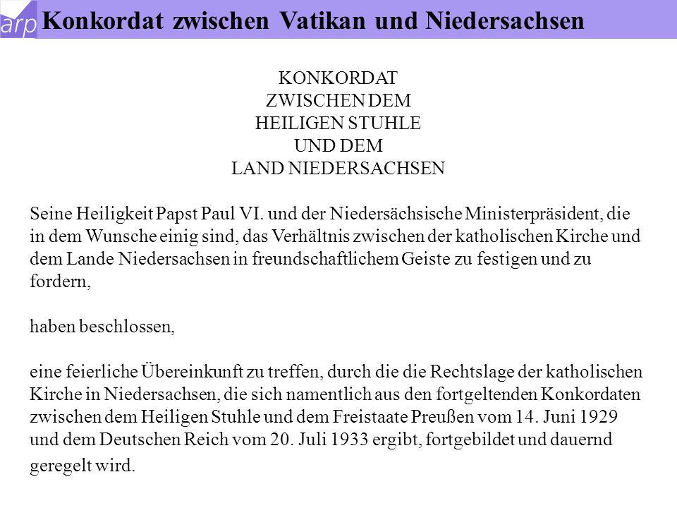 Konkordat zwischen Vatikan und Niedersachsen
