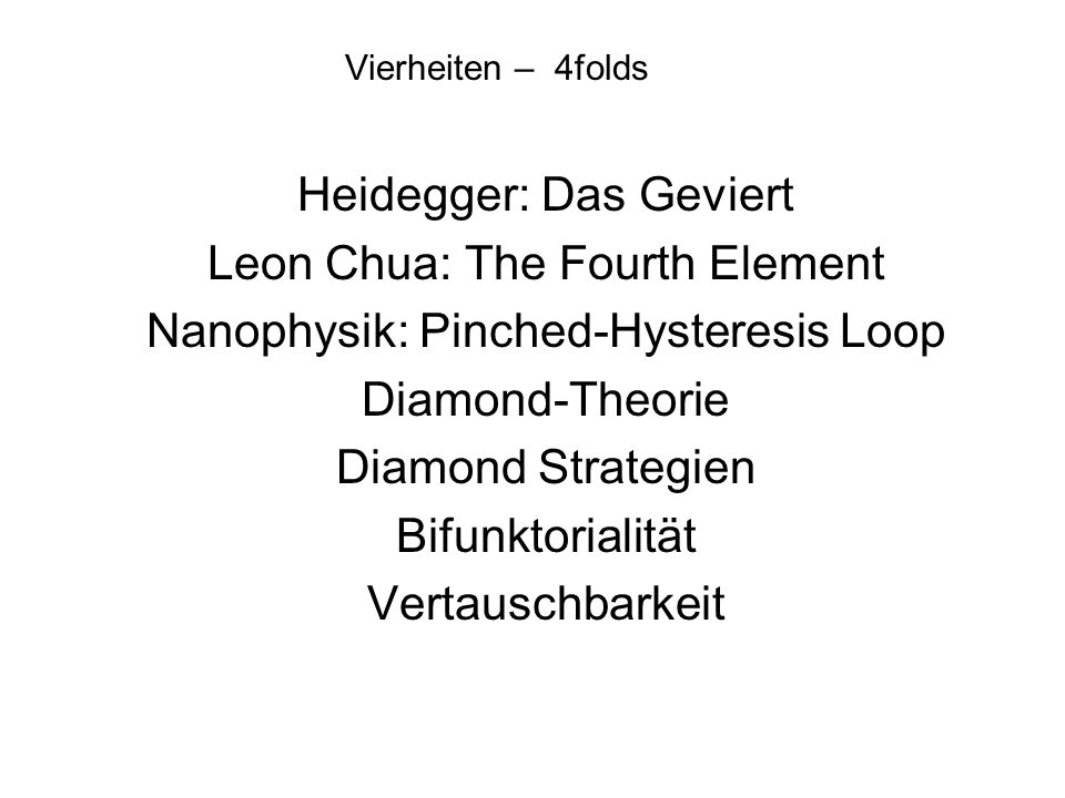 Heidegger: Das Geviert Leon Chua: The Fourth Element