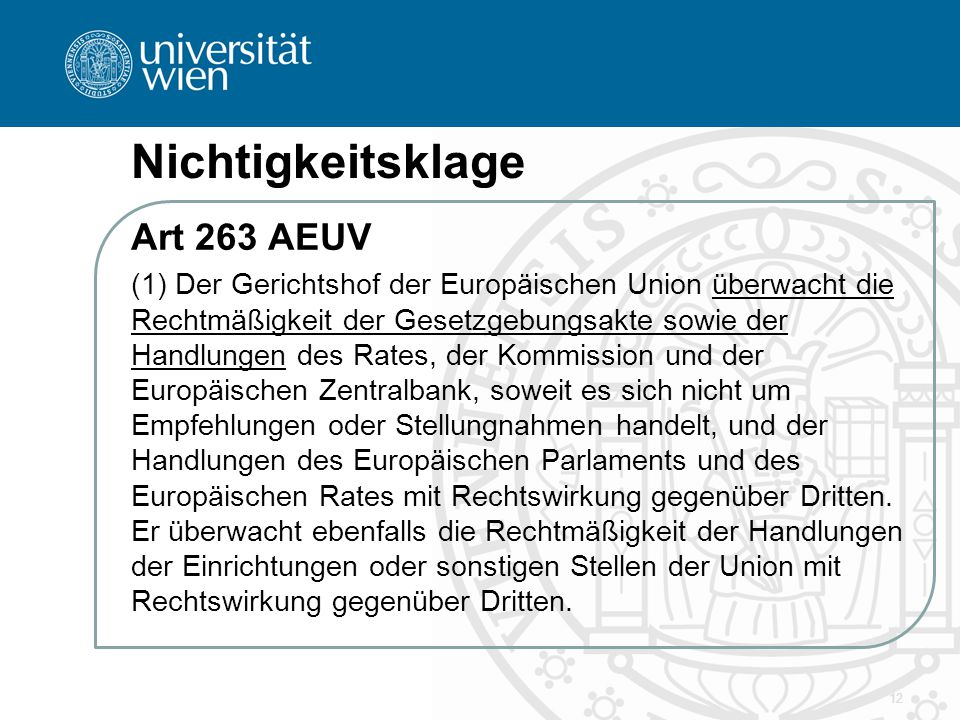 Nichtigkeitsklage Art 263 AEUV