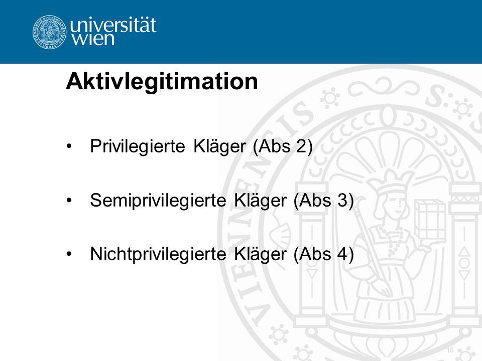 Aktivlegitimation Privilegierte Kläger (Abs 2)