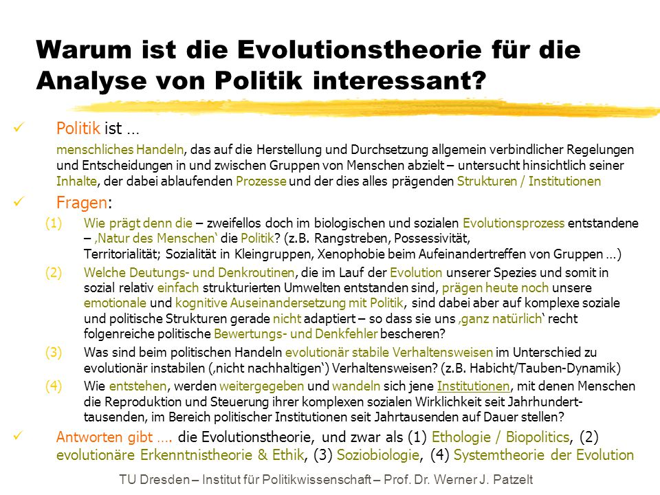 Warum ist die Evolutionstheorie für die Analyse von Politik interessant