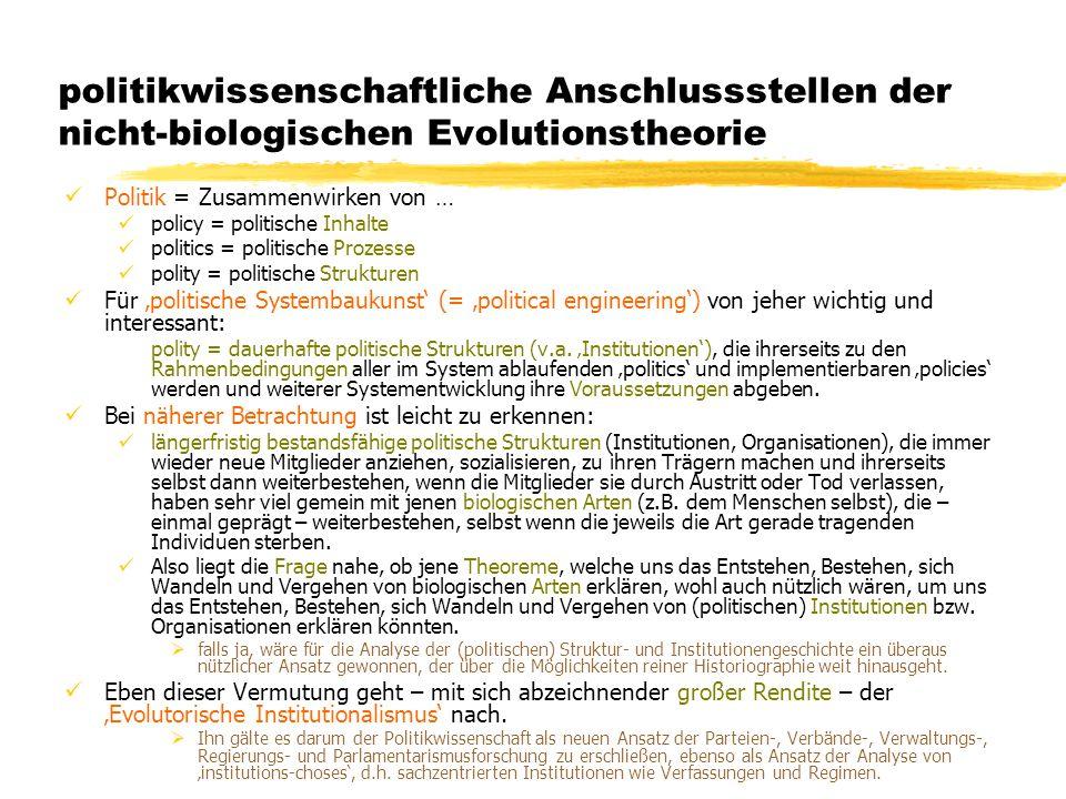 politikwissenschaftliche Anschlussstellen der nicht-biologischen Evolutionstheorie