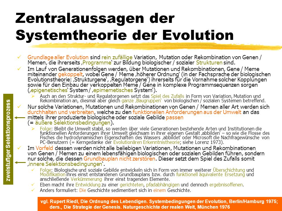 Zentralaussagen der Systemtheorie der Evolution