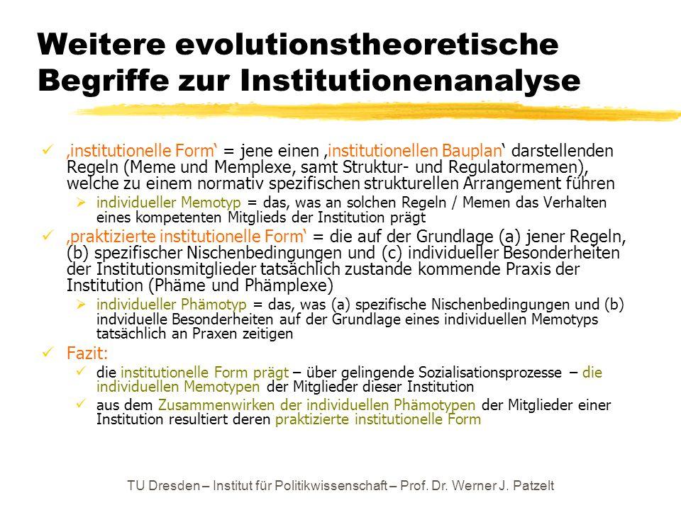 Weitere evolutionstheoretische Begriffe zur Institutionenanalyse