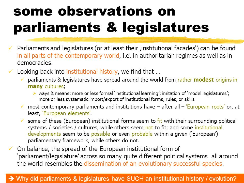 some observations on parliaments & legislatures