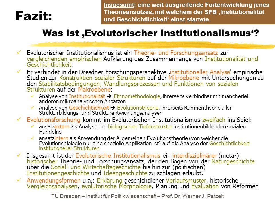 Fazit: Was ist 'Evolutorischer Institutionalismus'