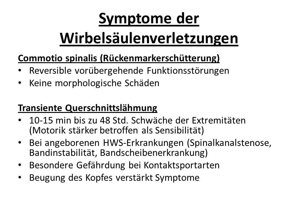 Symptome der Wirbelsäulenverletzungen