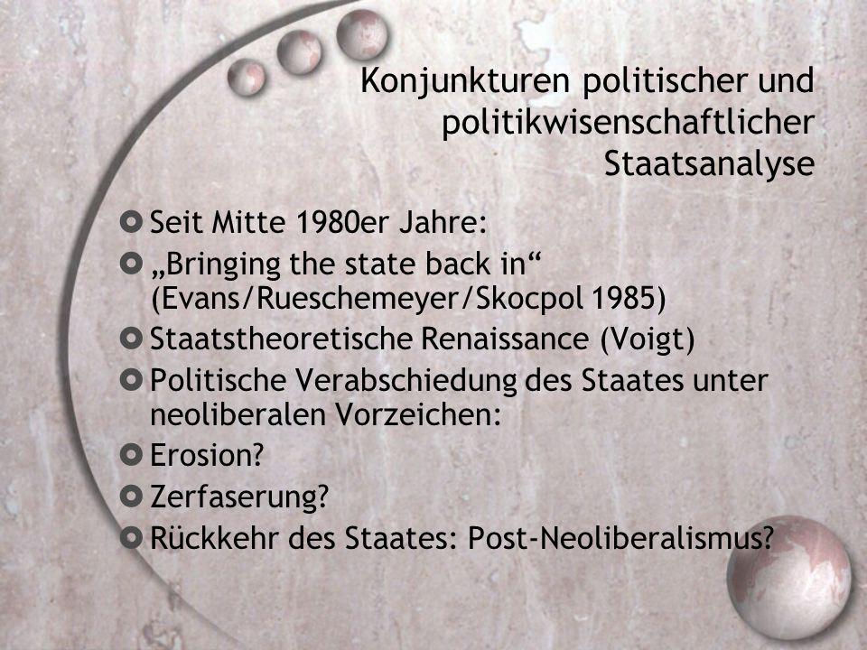 Konjunkturen politischer und politikwisenschaftlicher Staatsanalyse