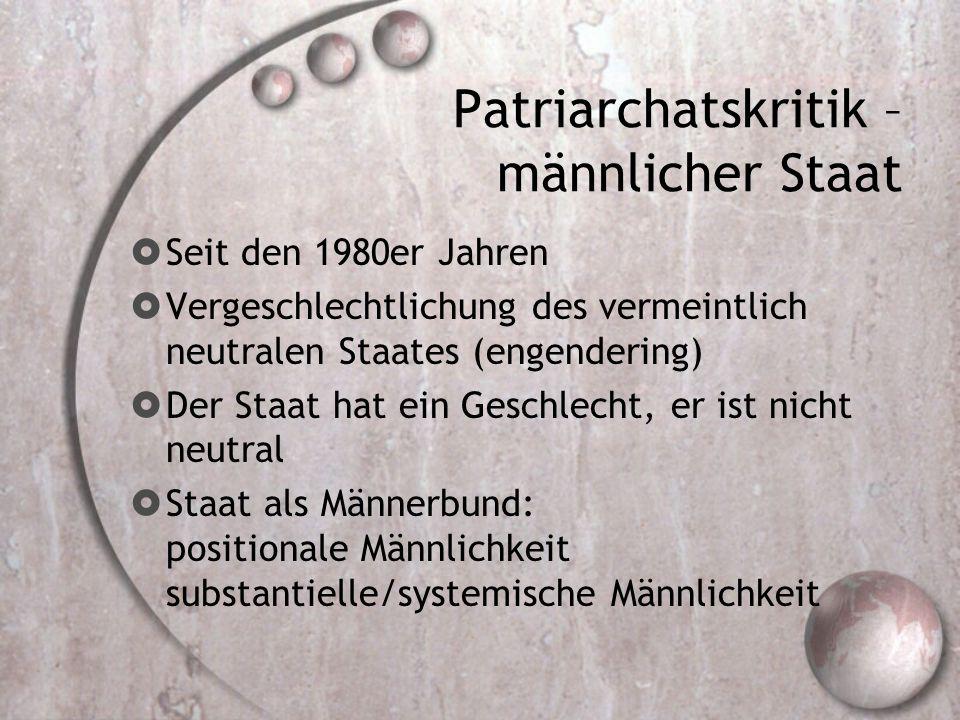 Patriarchatskritik – männlicher Staat