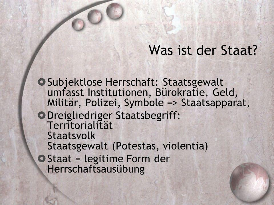 Was ist der Staat Subjektlose Herrschaft: Staatsgewalt umfasst Institutionen, Bürokratie, Geld, Militär, Polizei, Symbole => Staatsapparat,