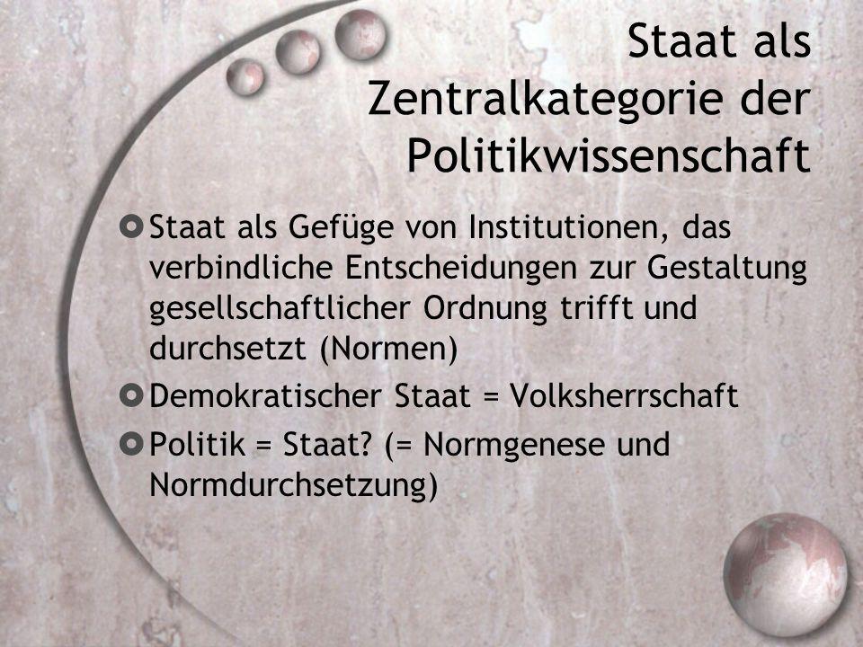 Staat als Zentralkategorie der Politikwissenschaft