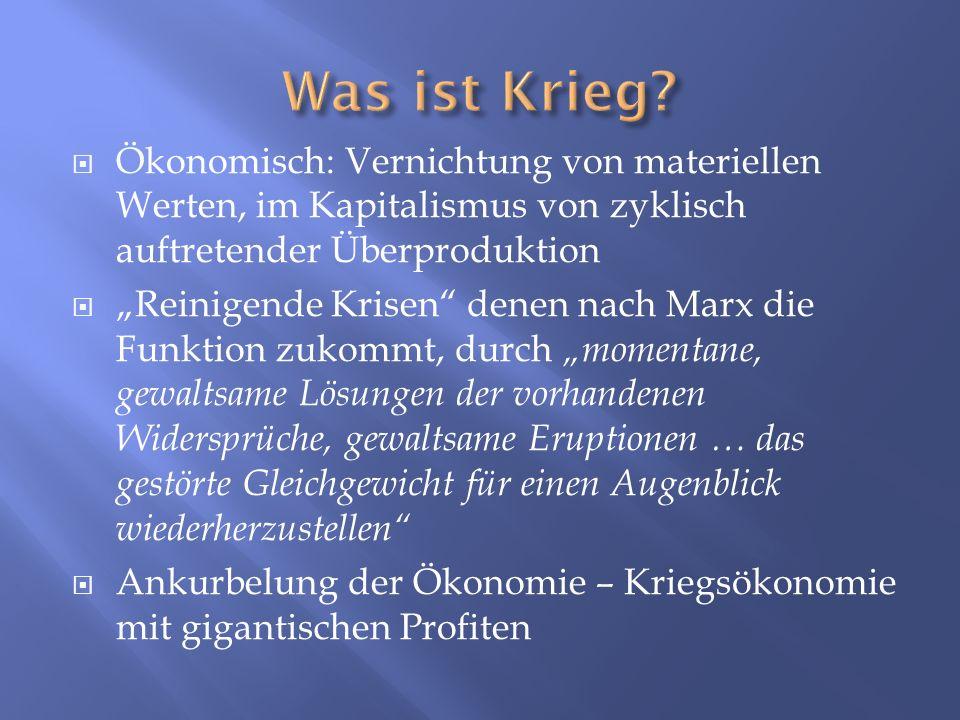 Was ist Krieg Ökonomisch: Vernichtung von materiellen Werten, im Kapitalismus von zyklisch auftretender Überproduktion.