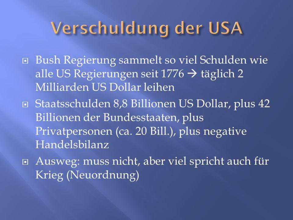 Verschuldung der USA Bush Regierung sammelt so viel Schulden wie alle US Regierungen seit 1776  täglich 2 Milliarden US Dollar leihen.