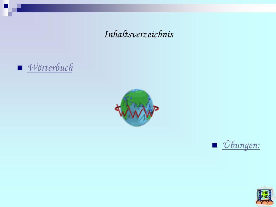 Inhaltsverzeichnis Wörterbuch Übungen:
