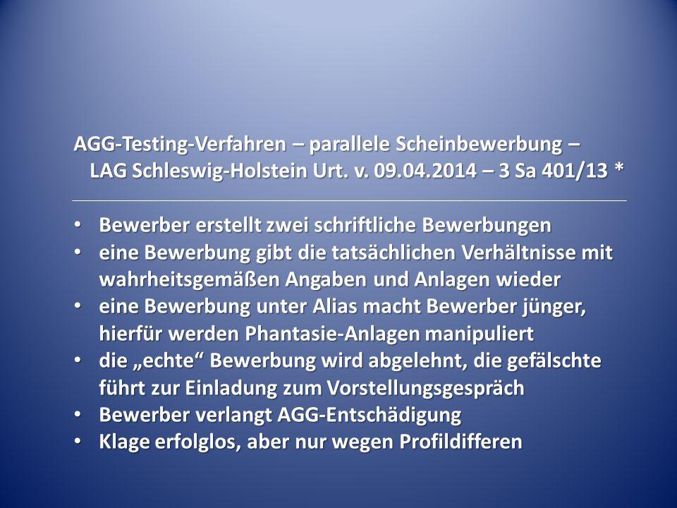 AGG-Testing-Verfahren – parallele Scheinbewerbung –