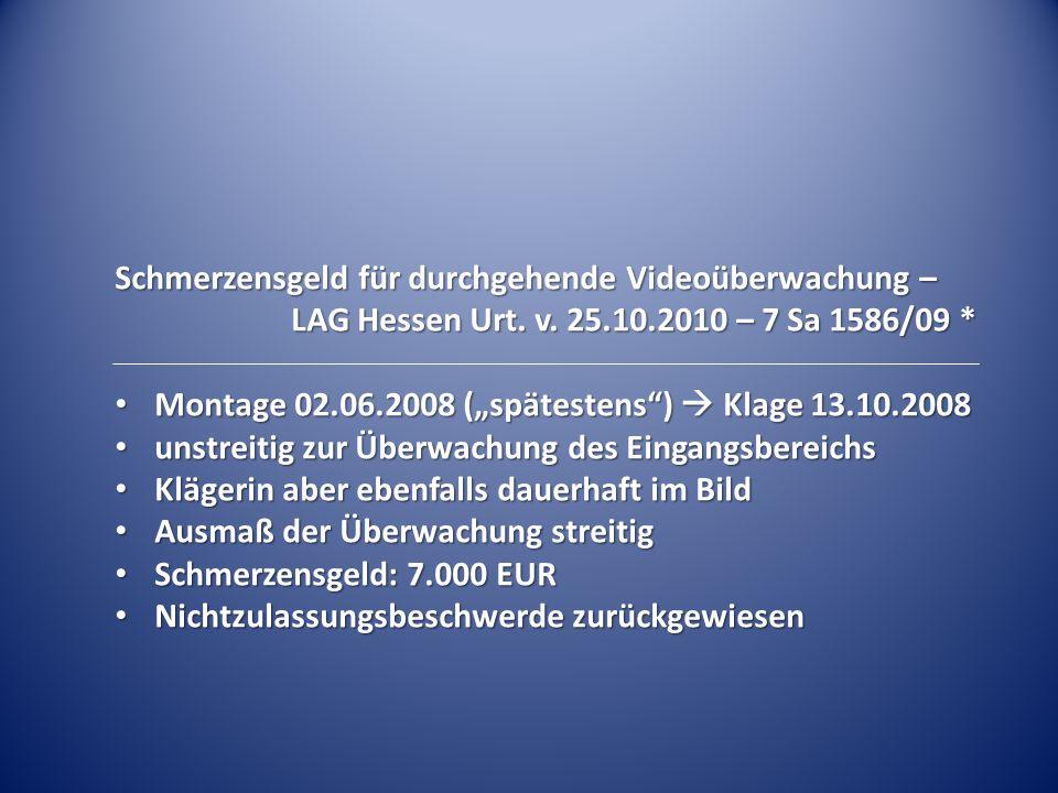 Schmerzensgeld für durchgehende Videoüberwachung –