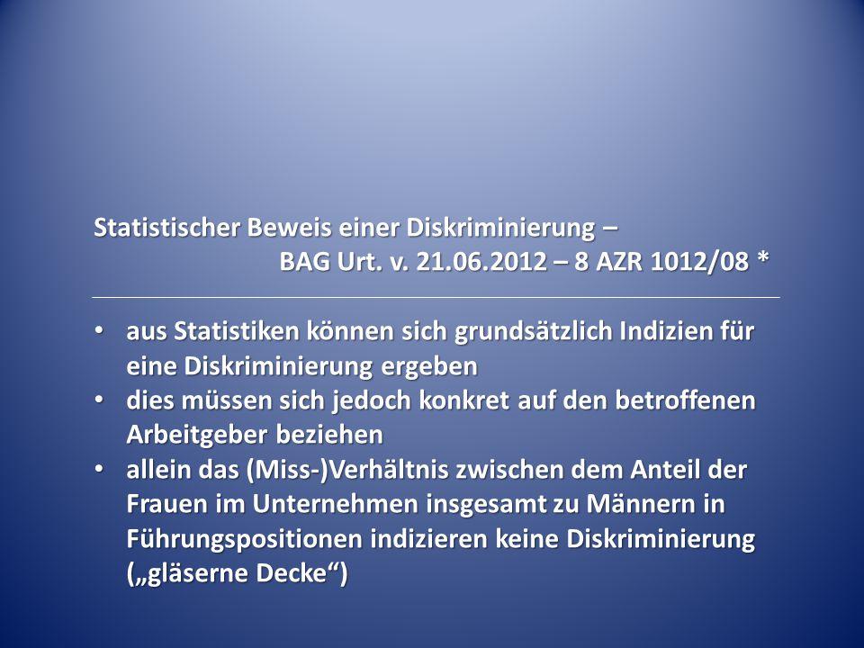 Statistischer Beweis einer Diskriminierung –