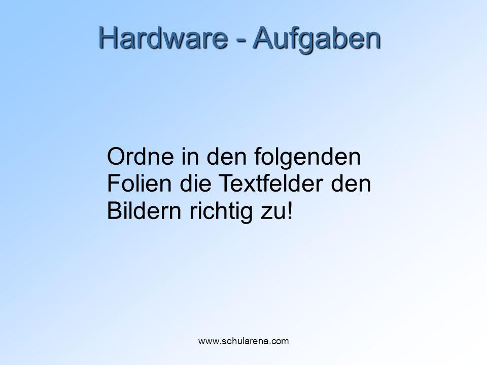 Hardware - Aufgaben Ordne in den folgenden Folien die Textfelder den Bildern richtig zu.