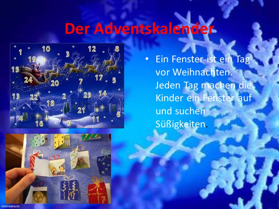 Der Adventskalender Ein Fenster ist ein Tag vor Weihnachten.