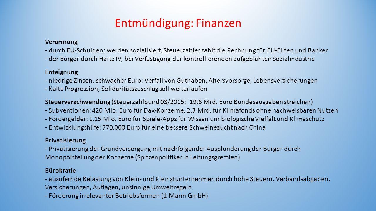 Entmündigung: Finanzen