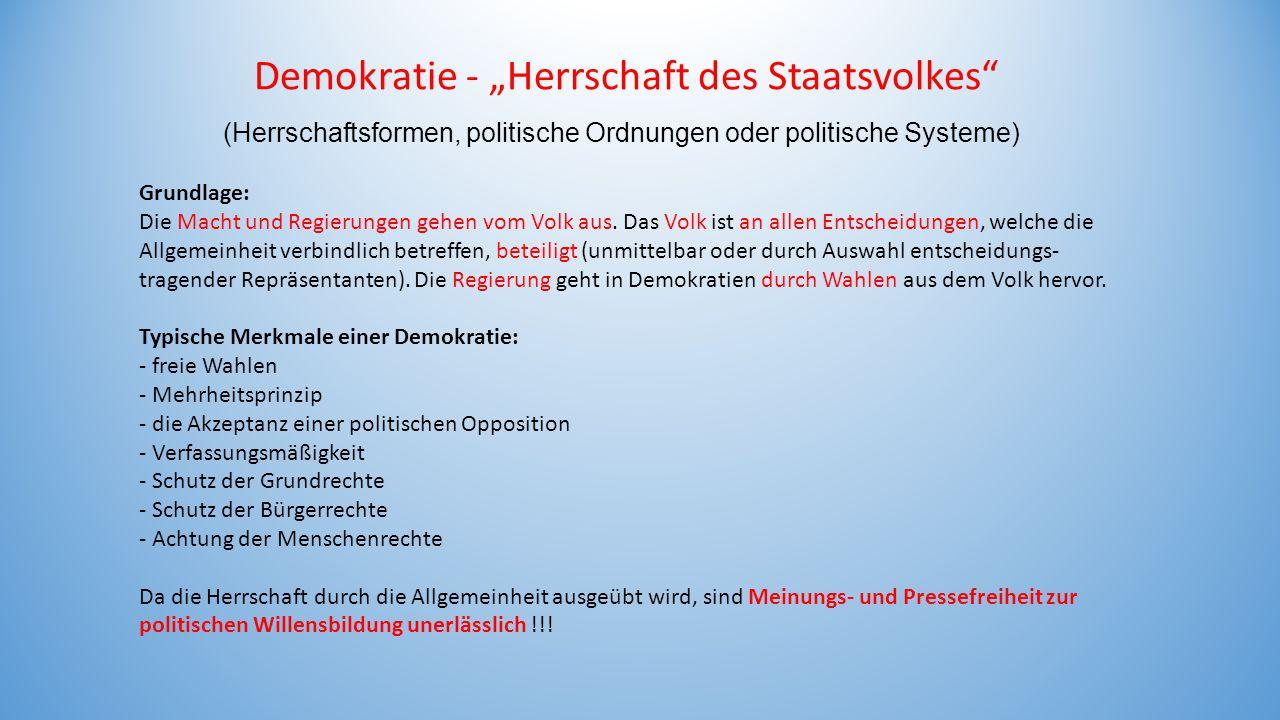 """Demokratie - """"Herrschaft des Staatsvolkes"""
