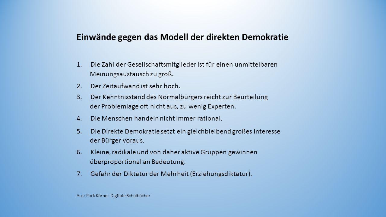Einwände gegen das Modell der direkten Demokratie