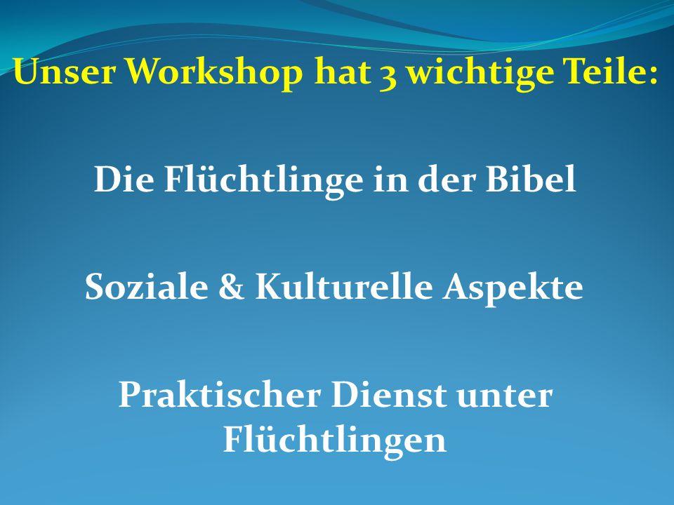 Unser Workshop hat 3 wichtige Teile: Die Flüchtlinge in der Bibel