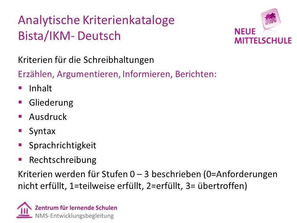 Analytische Kriterienkataloge Bista/IKM- Deutsch