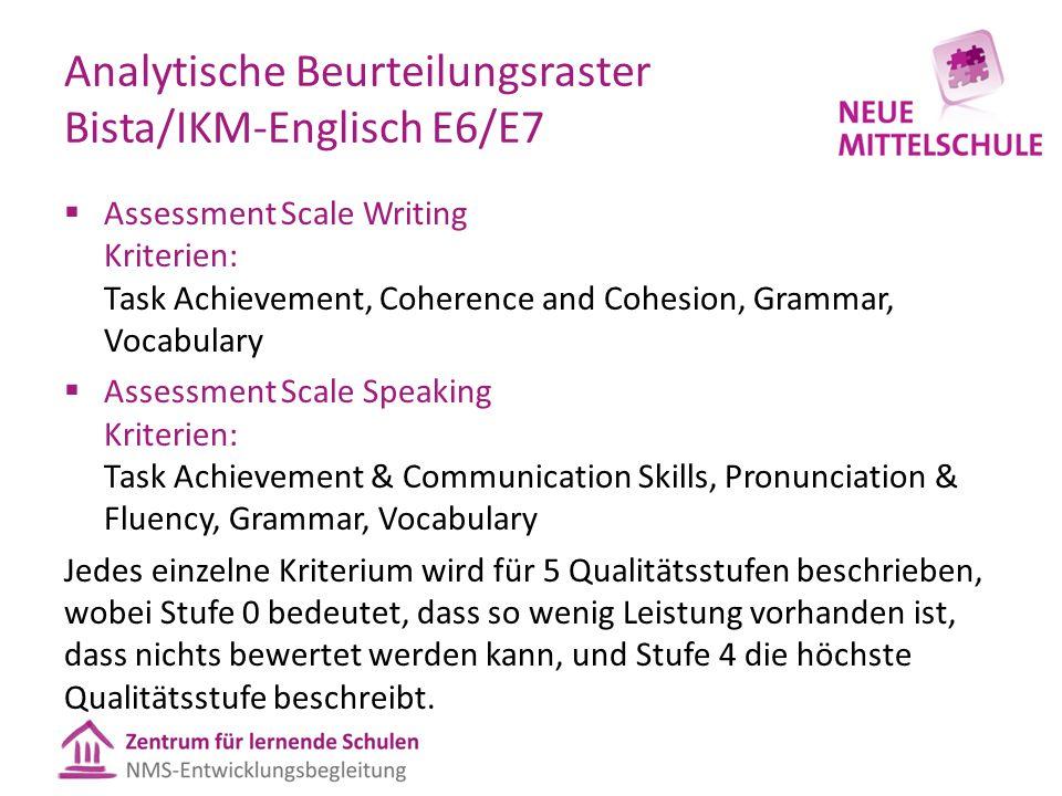 Analytische Beurteilungsraster Bista/IKM-Englisch E6/E7