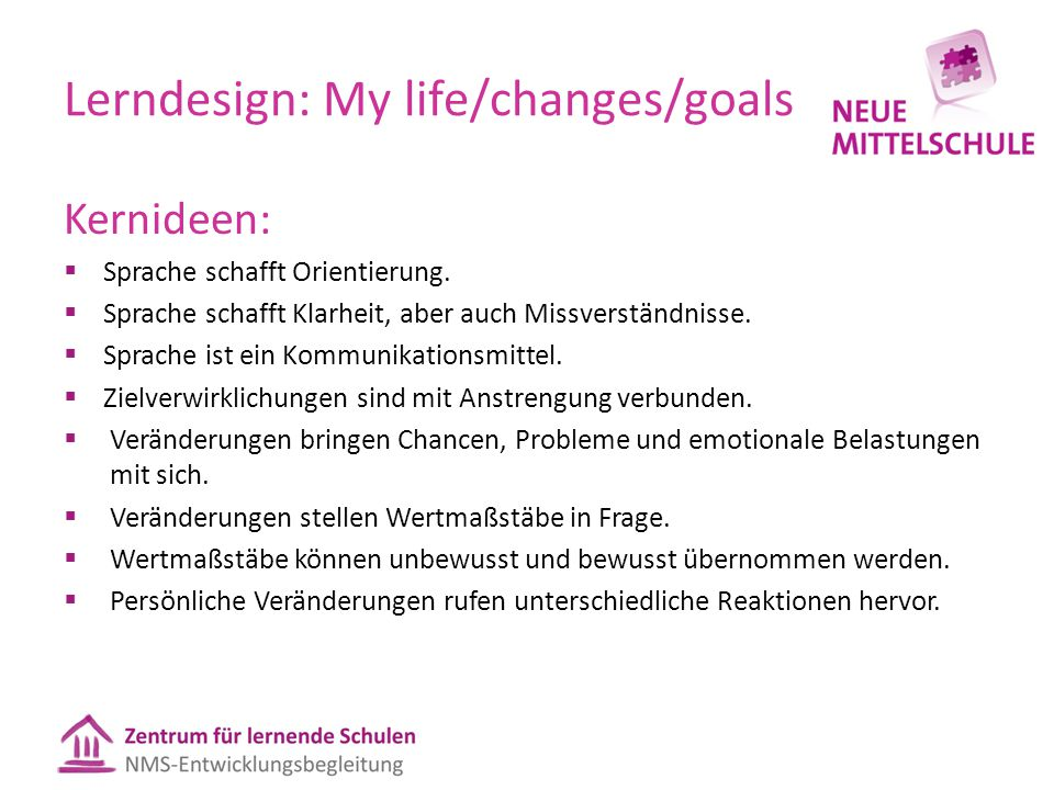 Lerndesign: My life/changes/goals