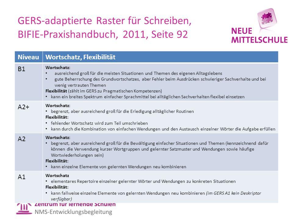 GERS-adaptierte Raster für Schreiben, BIFIE-Praxishandbuch, 2011, Seite 92