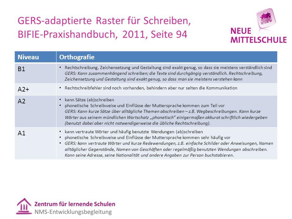 GERS-adaptierte Raster für Schreiben, BIFIE-Praxishandbuch, 2011, Seite 94