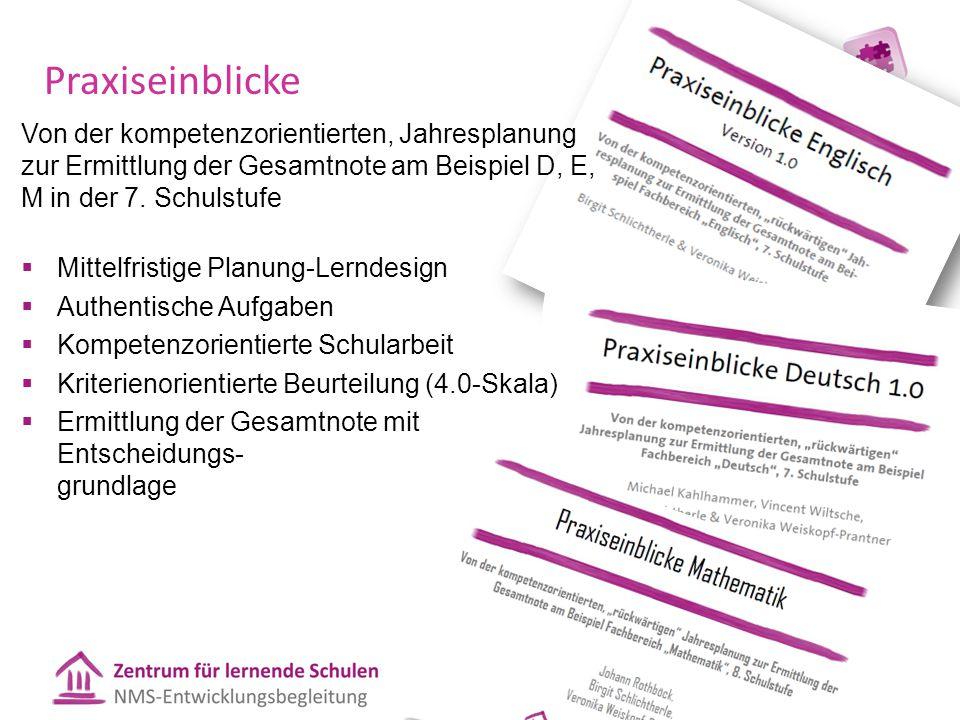 Praxiseinblicke Von der kompetenzorientierten, Jahresplanung zur Ermittlung der Gesamtnote am Beispiel D, E, M in der 7. Schulstufe.