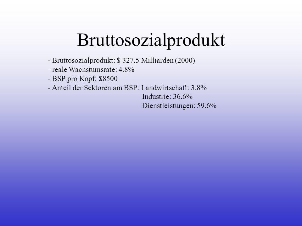 Bruttosozialprodukt Bruttosozialprodukt: $ 327,5 Milliarden (2000)