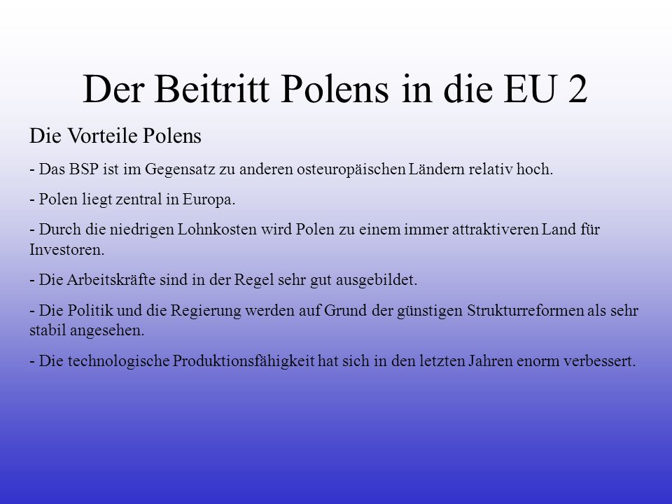 Der Beitritt Polens in die EU 2