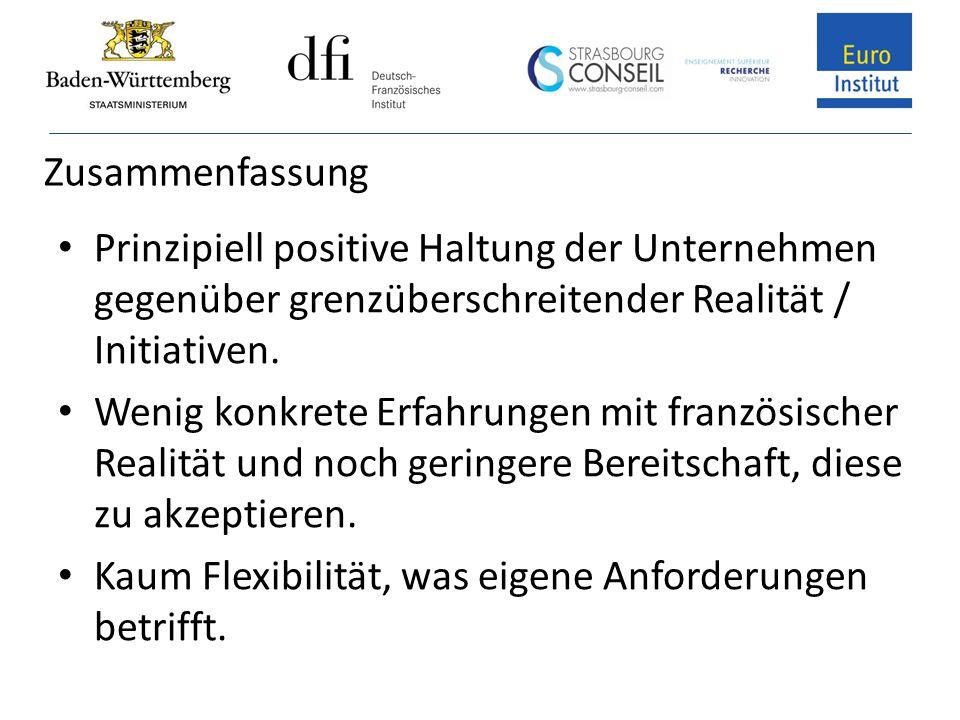 Zusammenfassung Prinzipiell positive Haltung der Unternehmen gegenüber grenzüberschreitender Realität / Initiativen.