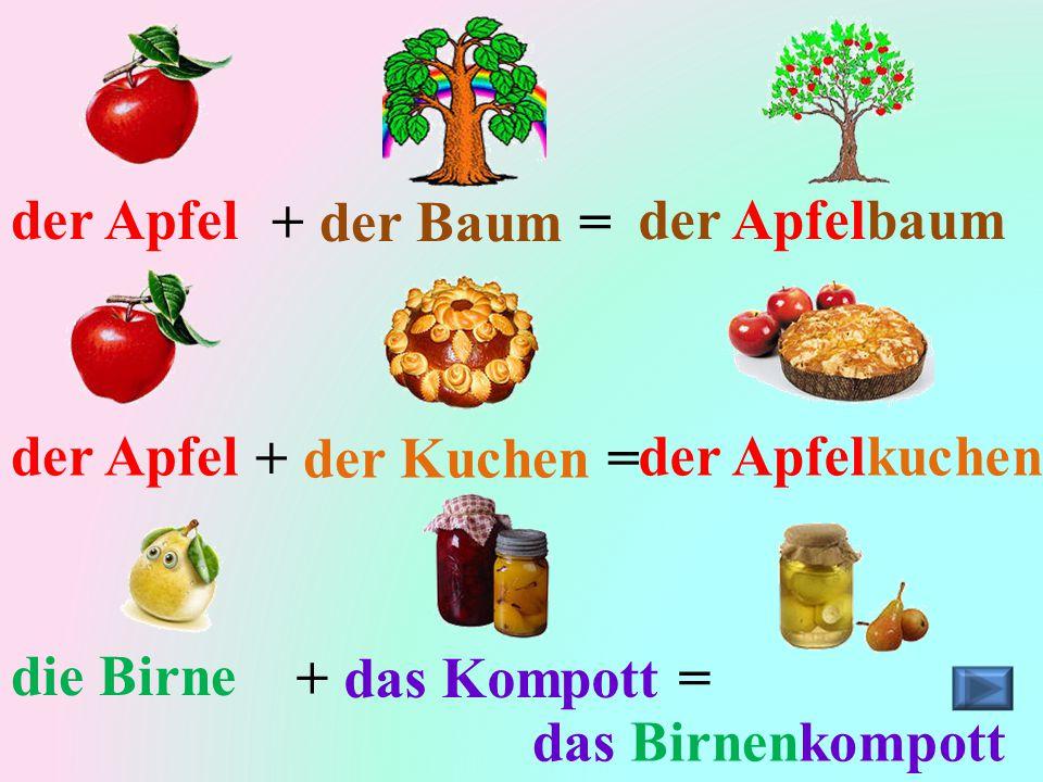 der Apfel + der Baum = der Apfelbaum. der Apfel. + der Kuchen = der Apfelkuchen. die Birne. + das Kompott =