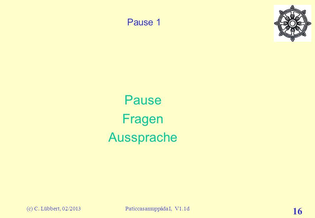 Pause Fragen Aussprache Pause 1 (c) C. Lübbert, 02/2013