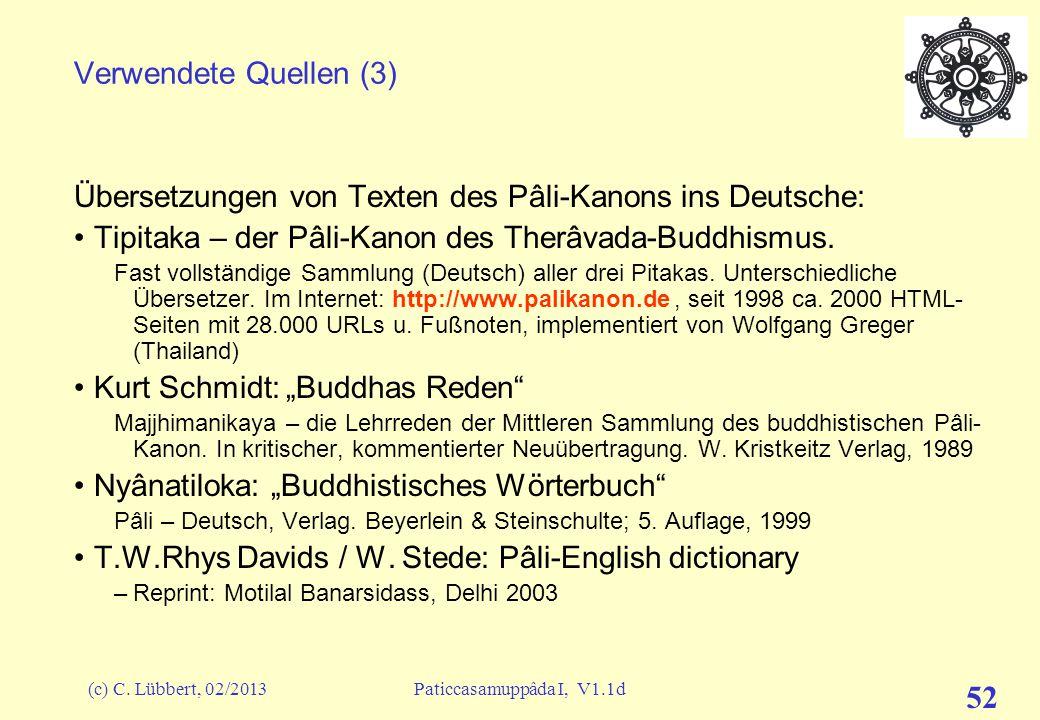 Übersetzungen von Texten des Pâli-Kanons ins Deutsche: