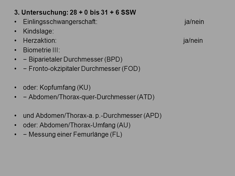 3. Untersuchung: 28 + 0 bis 31 + 6 SSW