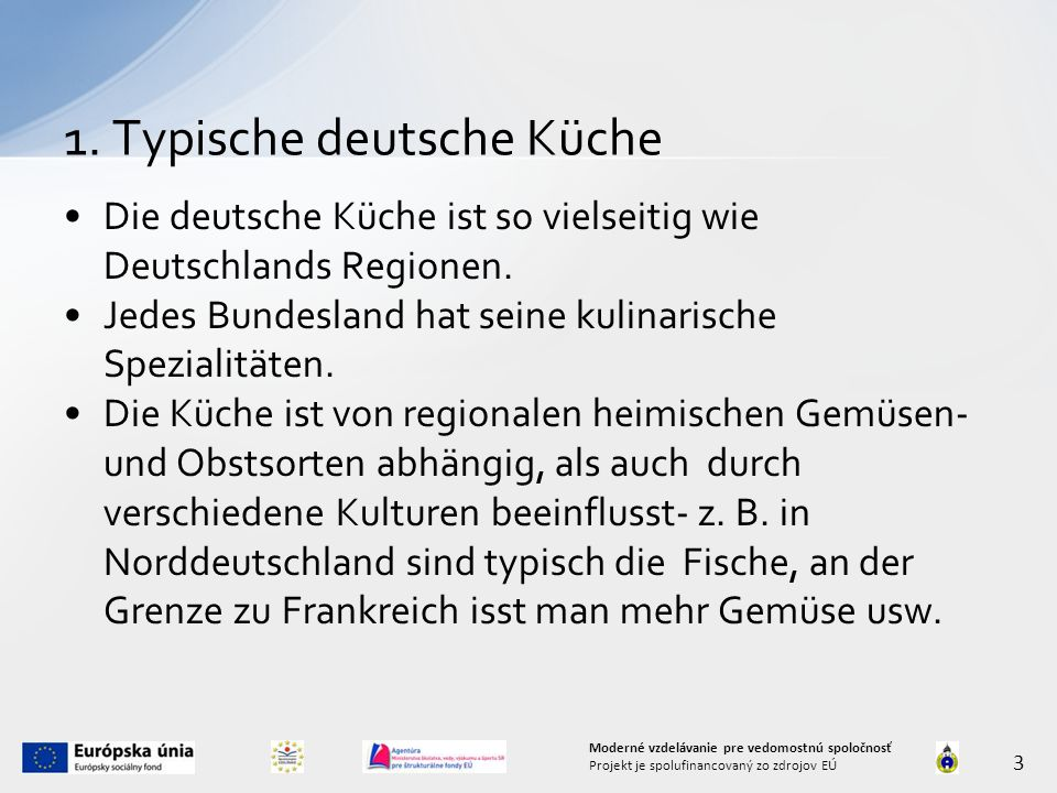 1. Typische deutsche Küche