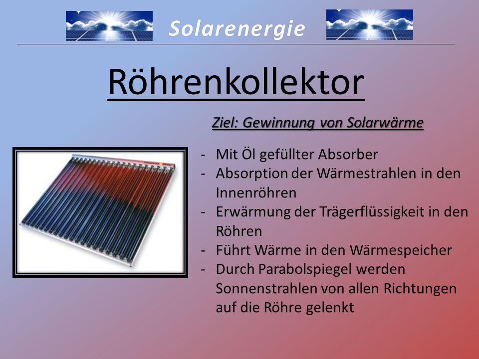 Ziel: Gewinnung von Solarwärme