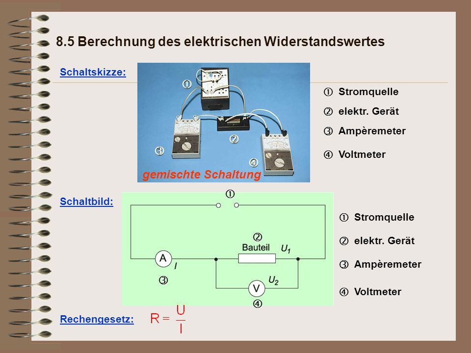 8.5 Berechnung des elektrischen Widerstandswertes
