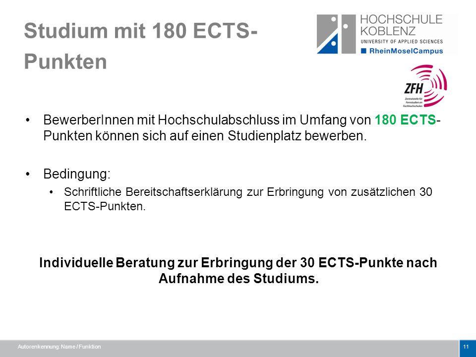 Studium mit 180 ECTS-Punkten