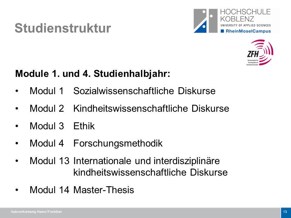 Studienstruktur Module 1. und 4. Studienhalbjahr: