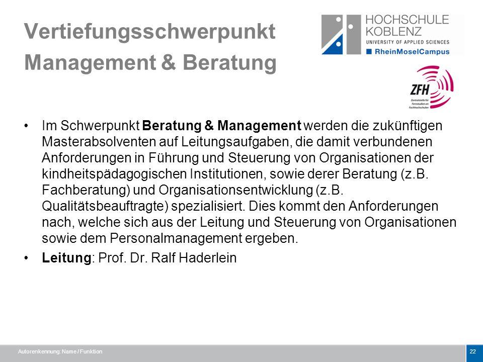 Vertiefungsschwerpunkt Management & Beratung